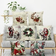 1pcs 2020 Pillow Case Santa Claus Print Old Man Sofa Bed Home Decor Pillowcase Bedroom Cushion Cover Merry Christmas 44x44 Cm(China)