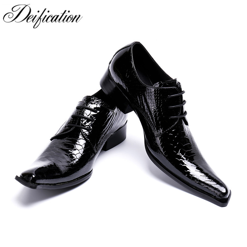 Deification Elegant Gentleman Wedding Dress Shoes Lace-Up Real Leather Shoes Square Toe Classic Men Formal Business Flat Shoes