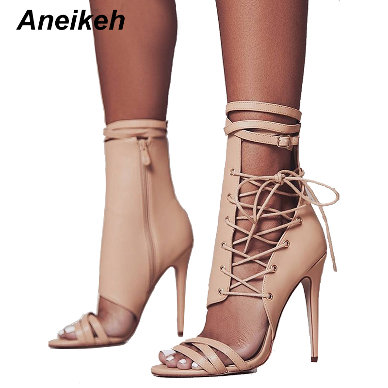 Aneikeh Roman Buckle Strap Shoes Women Sandals Sexy Gladiator Lace Up Peep Toe Sandals High Heels Woman Ankle Boots Black Aprict