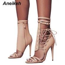 3fb28b0c80db33 Aneikeh Römischen Schnalle Schuhe Frauen Sandalen Sexy Gladiator Lace Up  Peep Toe Sandalen High Heels Frau