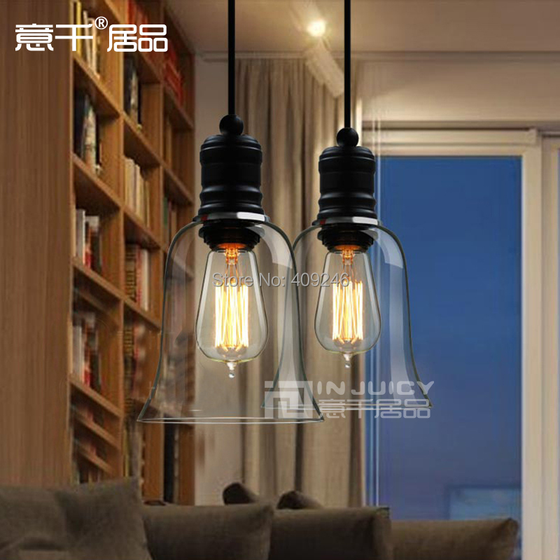 ФОТО Edison Vintage Style Clear Crystal Glass Bell  Pendant  Ceiling Lamp