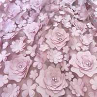 Exquisite 3D Flower Pearl Beaded Lace Fabric Bridal Gowns Tulle Mesh Lace Fabric 1 Yard Free Shipping
