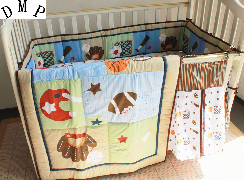 Promotion! 5pcs Embroidery Baby bedding set Bed Linen Baby Crib Bed Sets ,include (bumpers+duvet+bed cover+bed skirt+diaper bag)