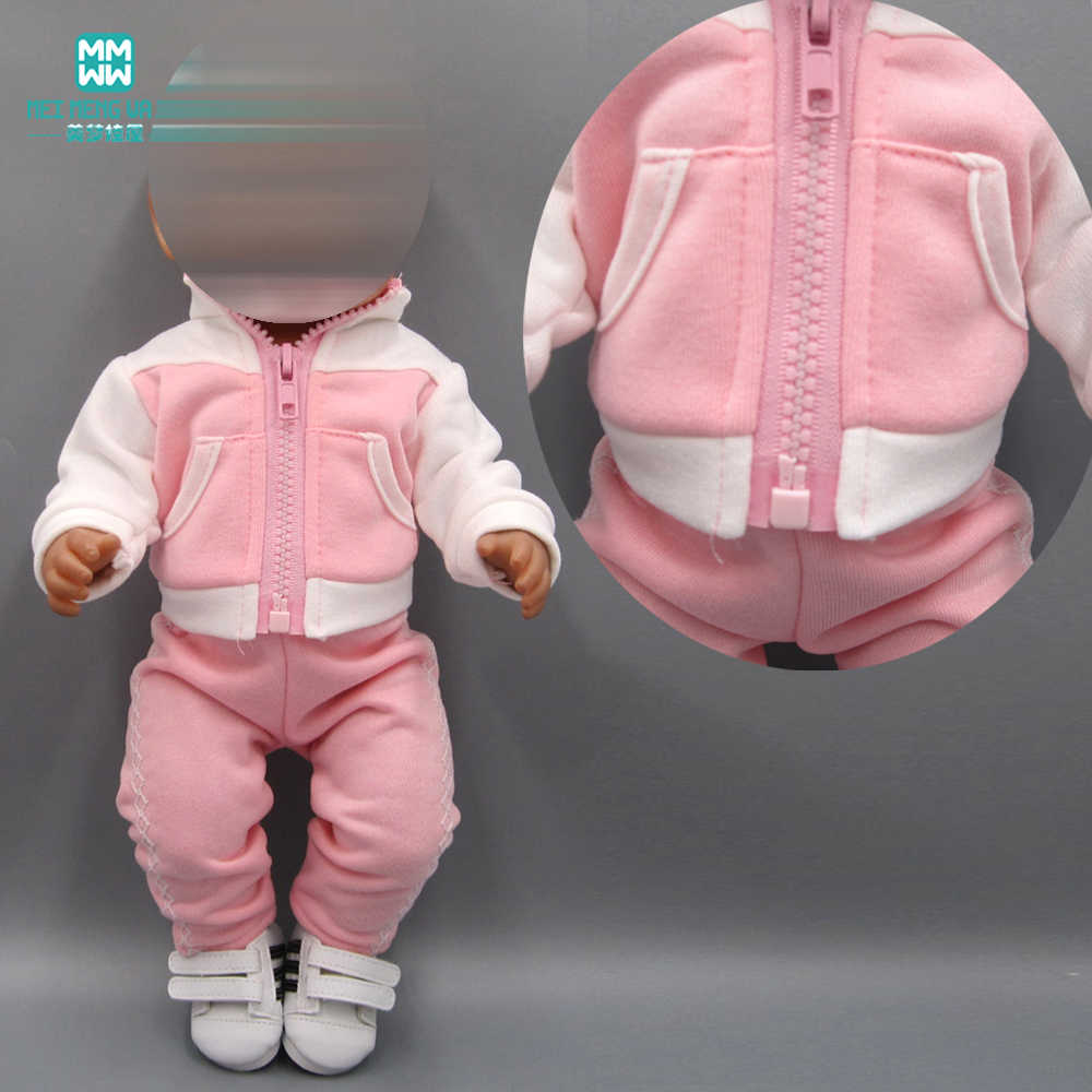 Toy baby doll clothes pink casual sports suitfor for 43cm new born doll and American doll accessories