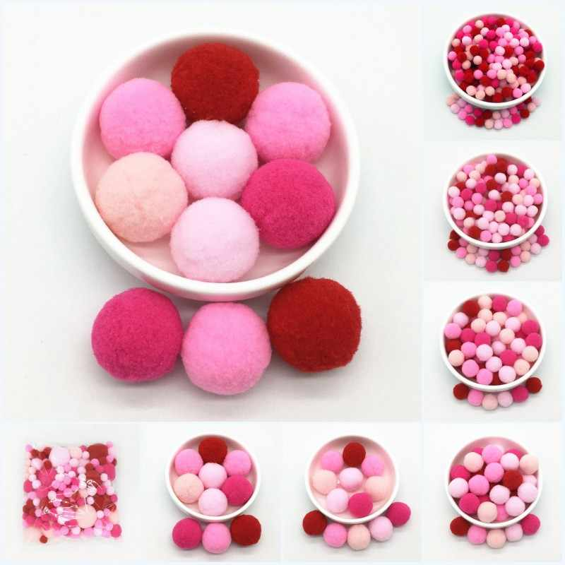 Mix Size Pompoms 8/10/15/20/25/30mm Pompones Fur Plush Fluffy Balls for Kids DIY Crafts Soft Home Sewing Garment Accessories 20g