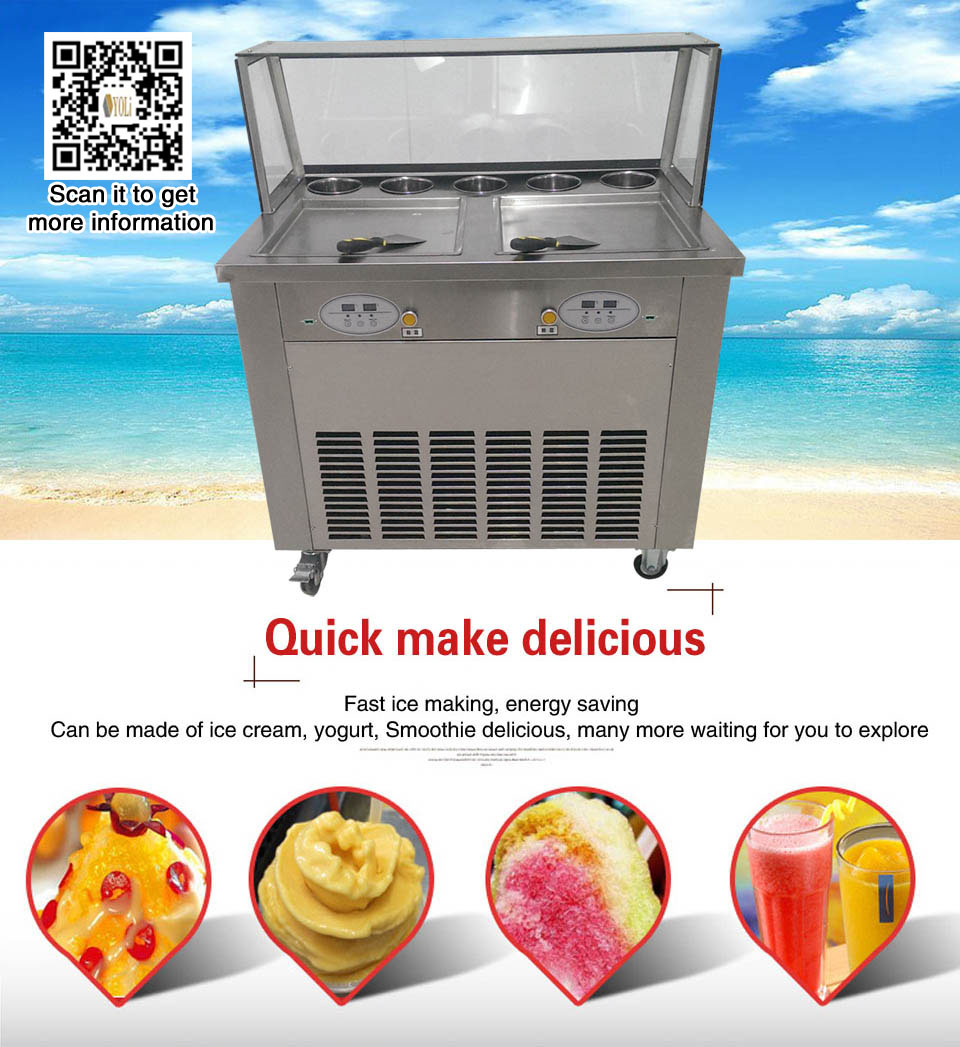 Rolled Ice Cream Equipment Instant Ice Cream Rolls Machine 2 pan with 2 controlRolled Ice Cream Equipment Instant Ice Cream Rolls Machine 2 pan with 2 control