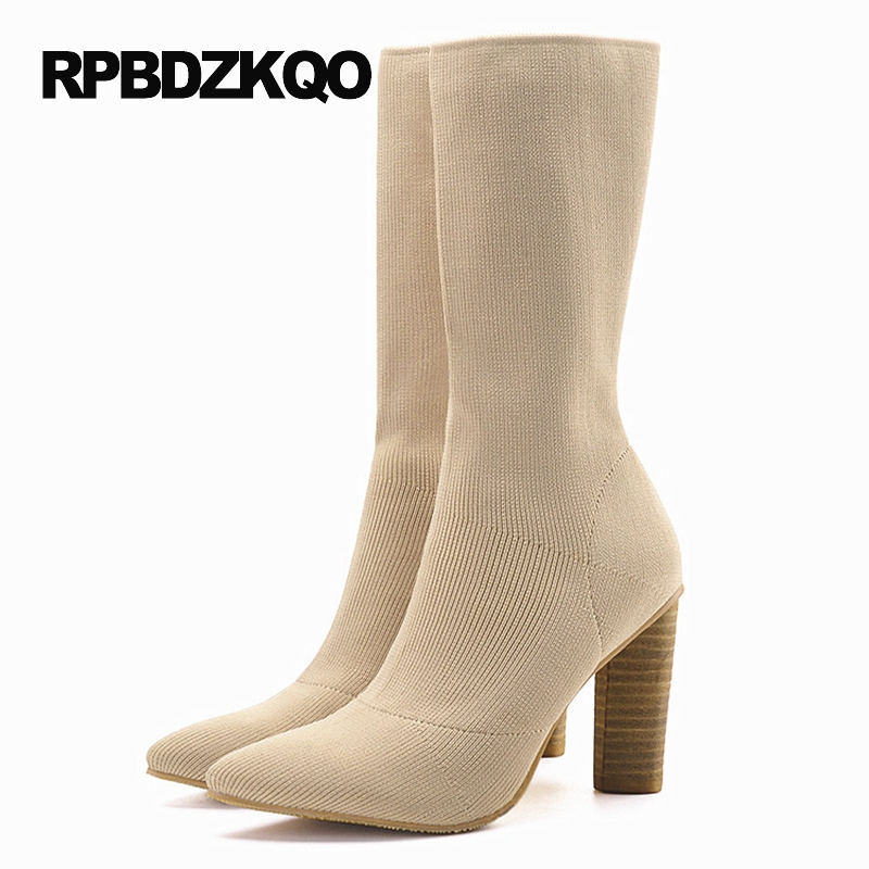 High Heel Luxury Brand Shoes Women Slim Boots Stretch Pointy Ladies Chunky Pointed Toe Sock Slip On Beige Mid Calf Autumn Female elegant beige high heel 2017 booties autumn chunky metal genuine leather luxury brand shoes women boots short ankle pointed toe