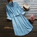 temperament brief solid Turn-dwn collar  long sleeve mori girl  Single-breasted denim dress mori girl 2016 autumn