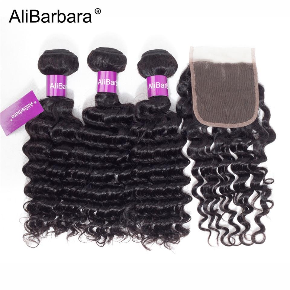 AliBarbara Hair Peruvian deep wave hair bundles with closure 3bundle with 4x4 lace closure Free Part Remy Human hair Extension