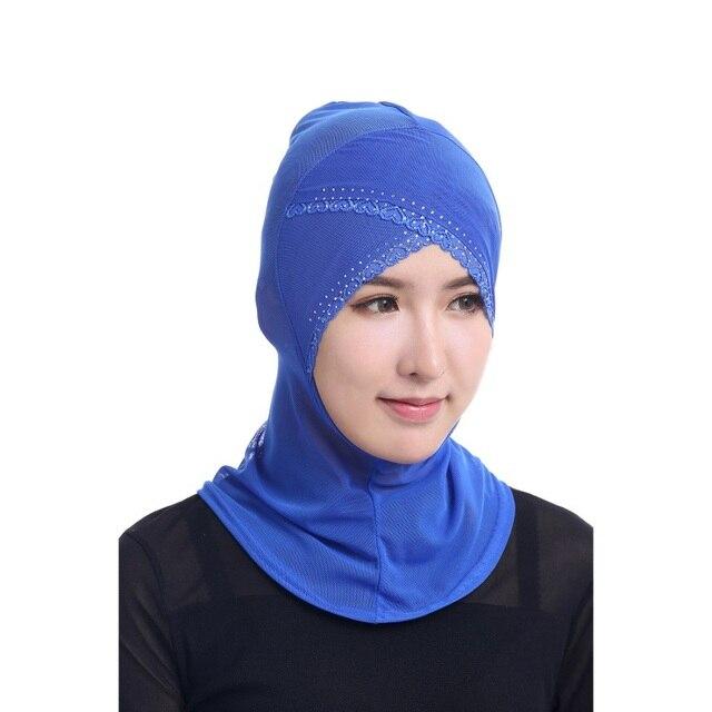 Chic Mulheres Muçulmanas Sob Cachecol Cap Chapéu Gorro Ninja Hijab Islâmico  Cobertura Pescoço c2ebf9a645e