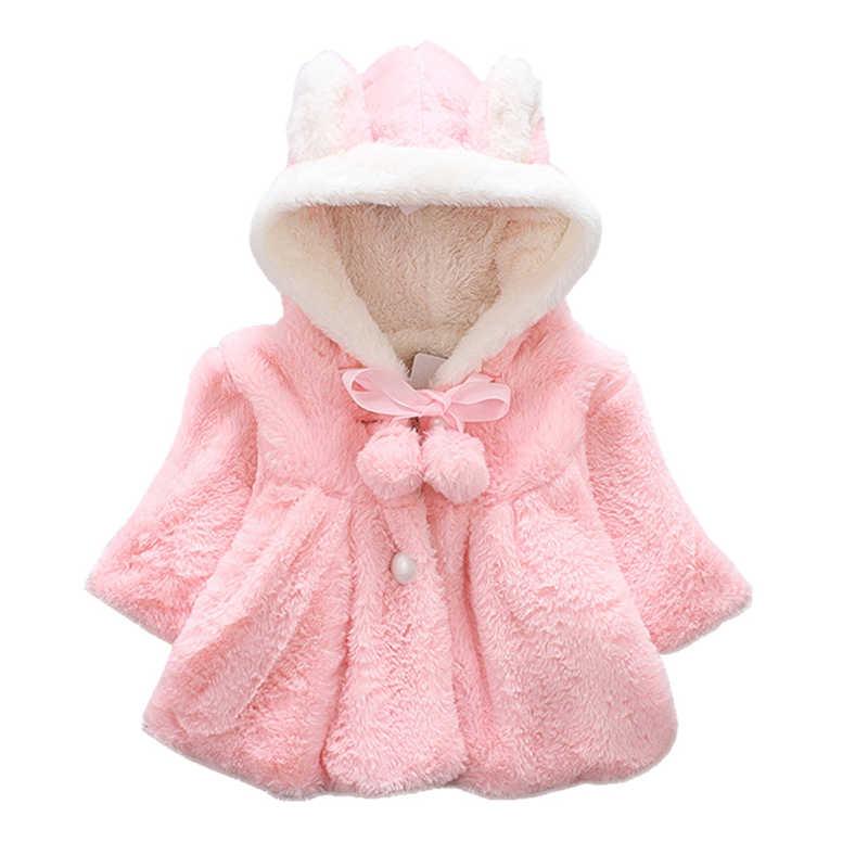 eaea1cca2c238 Winter Rabbit Ear 2018 Warm Newborn Baby Girls Fur Coat Cloak Jacket  Snowsuit Outerwear