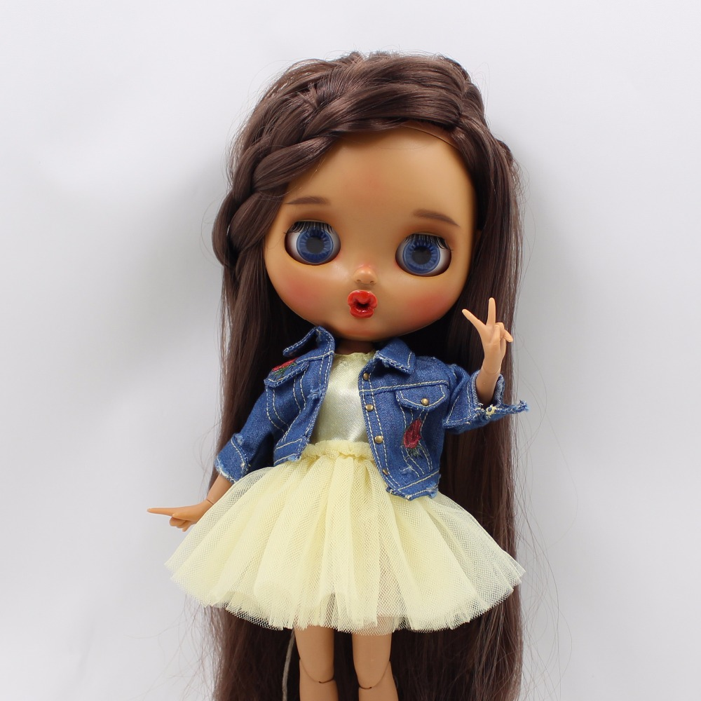 free shipping fortune days yellow pink Yarn skirt Gauzy Skirt with Denim jacket lady dress for blyth doll icy цена и фото