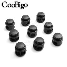 5pcs Pack Black Cord Lock Clamp 2 Hole Toggle Clip Stopper Paracord Shoelace Backpack Bag Parts Accessories 11x17mm(China)