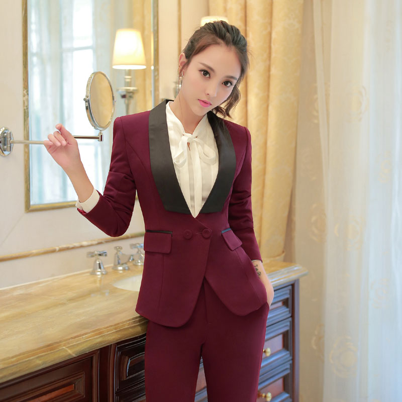 Novelty Wine Formal Professional Office Work Wear Suits Jackets And Pants Business Women Trousers Set Female