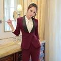 Novidade Vinho Formal Escritório Profissional Desgaste do Trabalho Ternos Blazers Jaquetas E Calças de Negócios Calças Femininas Definido Feminino Pantsuits