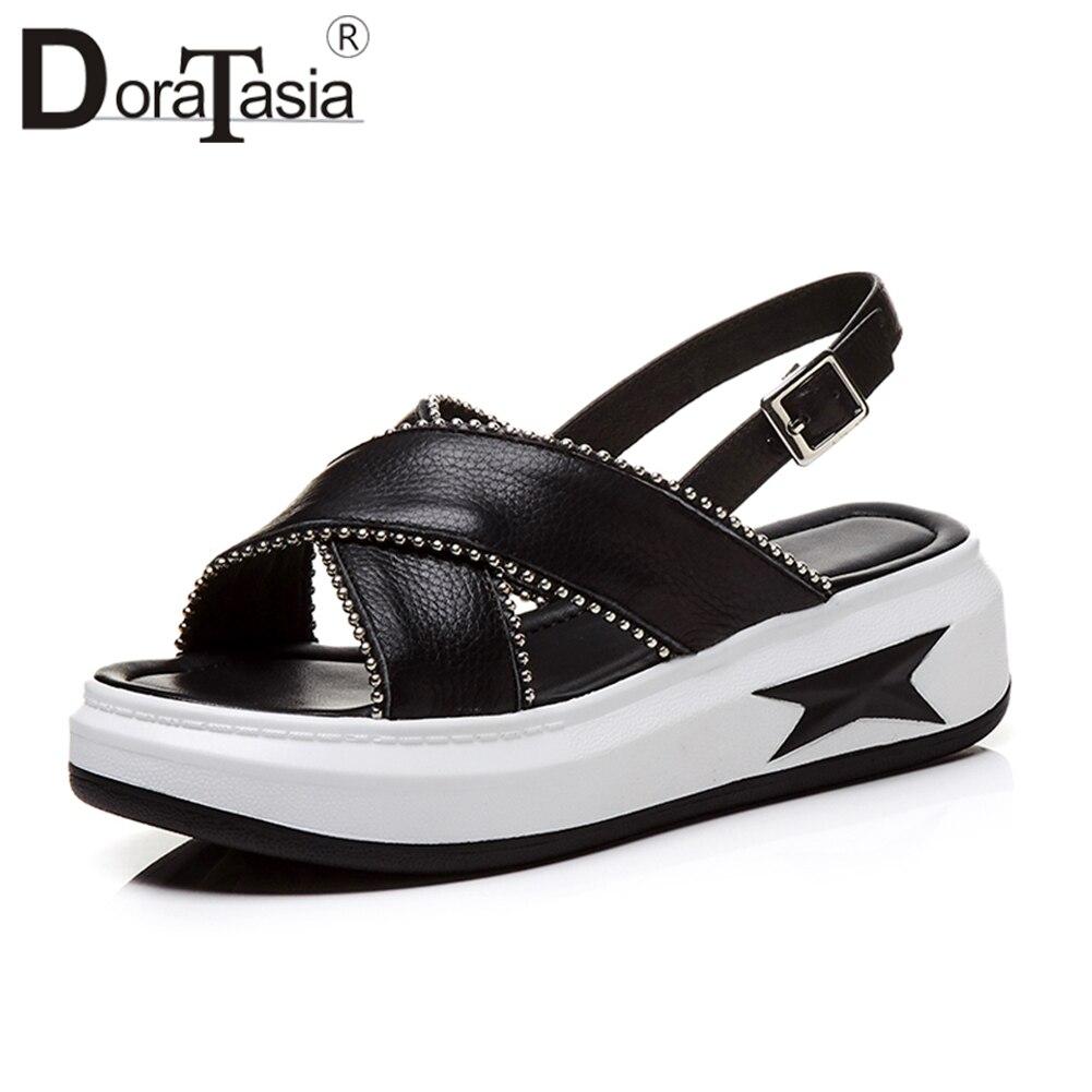 DoraTasia 2019 été mixte-couleur mode en cuir véritable sandales femmes grande taille 33-43 imprimer plate-forme chaussures à semelles compensées femme