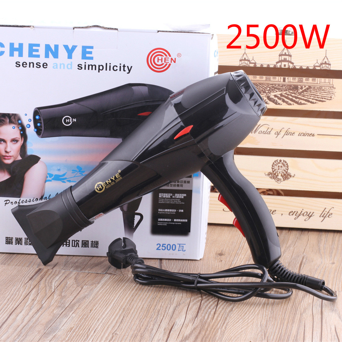 High Power 2500W Household Hair Dryer Hot and Cold Air Conversion 220V with Air Nozzle Salon Hair Dryer Curl Diffuser Wind high power hair dryer household anion hot and cold air mute hair dryer with professional collection cover