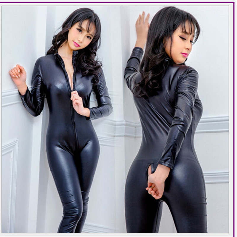 Women Hot Sexy Lingerie Black Jumpsuit Latex PVC Catsuit Costumes Open Crotch Babydoll Body Suits Pole Dance Nightclub Plus Size image