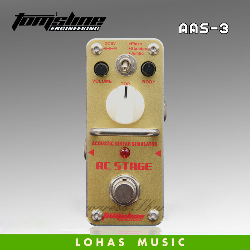 TOM'SLINE AAS-3 AC STAGE Acoustic simulation / Guitar effects pedal aroma ac stage acoustic guitar simulator effect pedal aas 3 high sensitive durable top knob volume knob true bypass metal shell