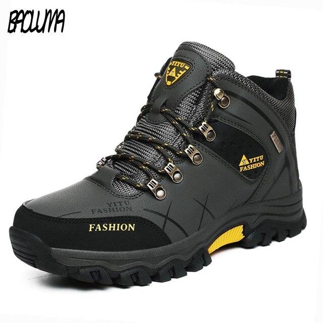 ビッグサイズ男性雪のブーツ暖かい毛皮ビッグサイズ 39-47 冬男性革スニーカーレースアップアウトドアマウンテン aterproof プラットフォーム靴