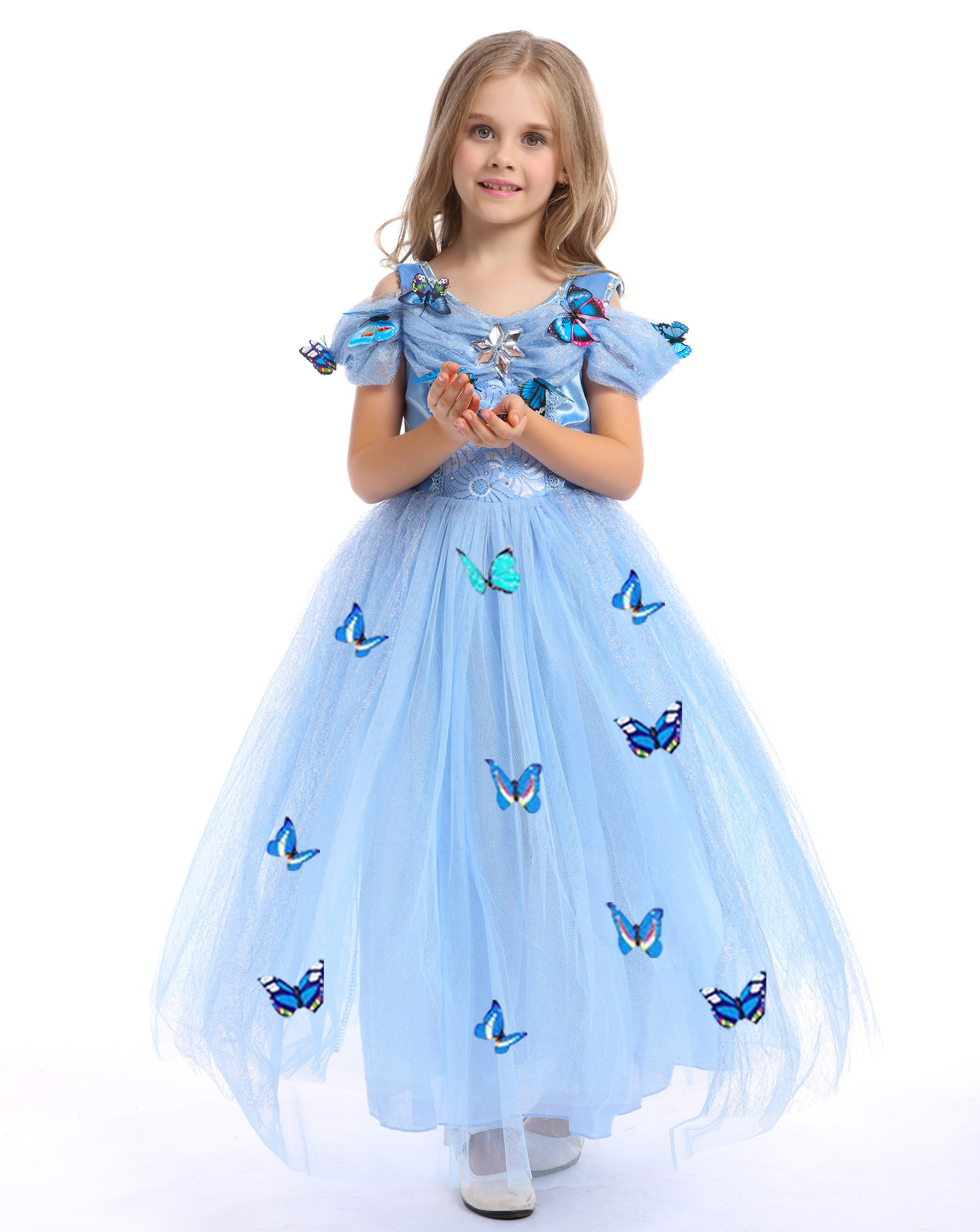 Cinderella Princess Party Dress Kids Sindirella Fluffy Halloween ...