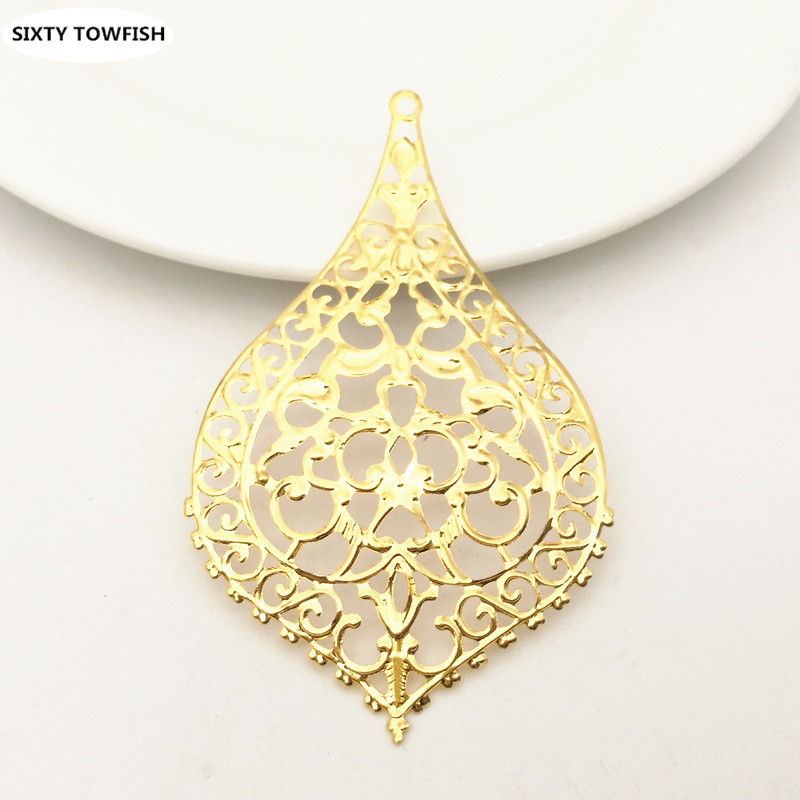 10 Pieces/lot 47*81mm Gold Color/White K/Antique Bronze Metal Filigree Flower Slice Charms DIY Jewelry Leaves Components