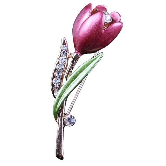 Elegante Tulip Fiore Spilla Pin di Cristallo Monili di Costume Abbigliamento Accessori Gioielli Spille Per La Cerimonia Nuziale