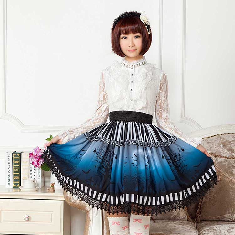 2016 new summer Punk Lolita Skirts Blue Gothic Halloween Short Pleated Vintage High quality Girls Horror