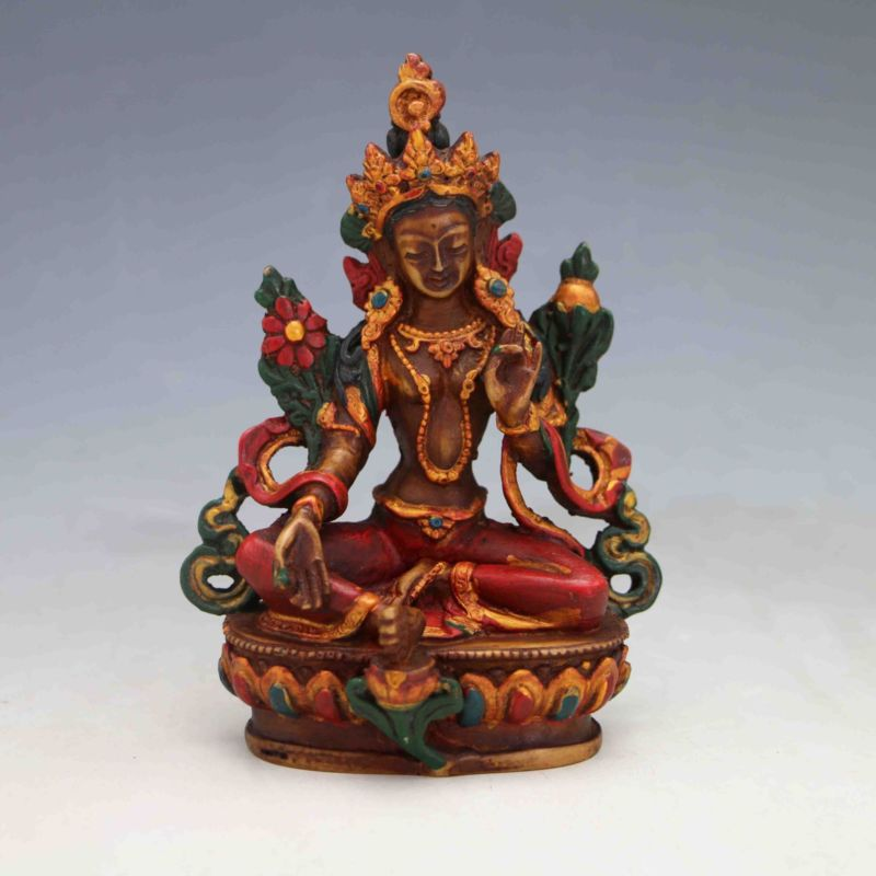 Vintage Antique Gudiao Hand-carved Tibet Buddha Statues-Green TaraVintage Antique Gudiao Hand-carved Tibet Buddha Statues-Green Tara
