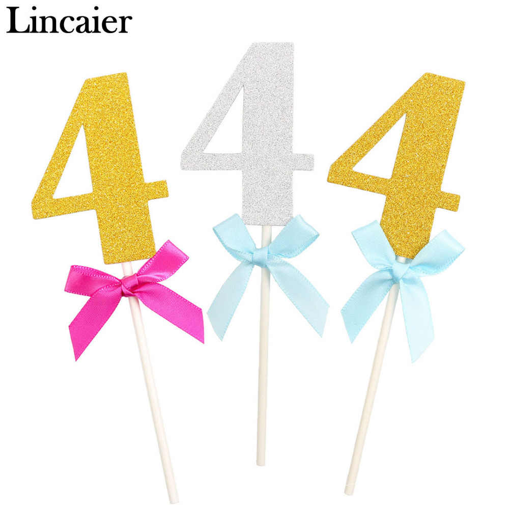 Lincaier 6 Pieces 4 Year 4th Birthday Cake Cupcake Toppers I AM Four Fourth Boy Girl