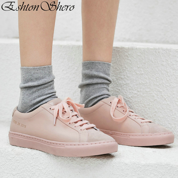 EshtonShero Spring Women's Flats Shoes Leather Woman Flat Heels Round Toe Classic Lace Up Pink Ladies Casual Shoes Size 3-8