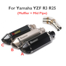 YZF R3 R25 Slip on Exhaust System Tip Muffler Silencer Mid Middle Link Connect Pipe for Yamaha YZF R3 R25 YZF-R3
