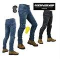 KOMINE PK-718 calças dos homens de motocicleta/off-road calças das mulheres/homens ao ar livre calças de brim/calças de ciclismo têm almofadas