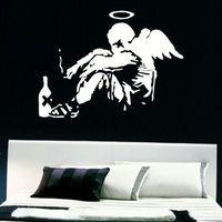 LARGE BANKSY FALLEN ANGEL BEDROOM GIANT WALL ART MURAL STICKER TRANSFER DECAL SIZE 75x55CM