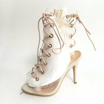 Sexy Clear PVC Transaprent Women Pumps High Heels Peep Toe Open Heels Lace-up Front Nude Patent Leather Shoes Women Real Image