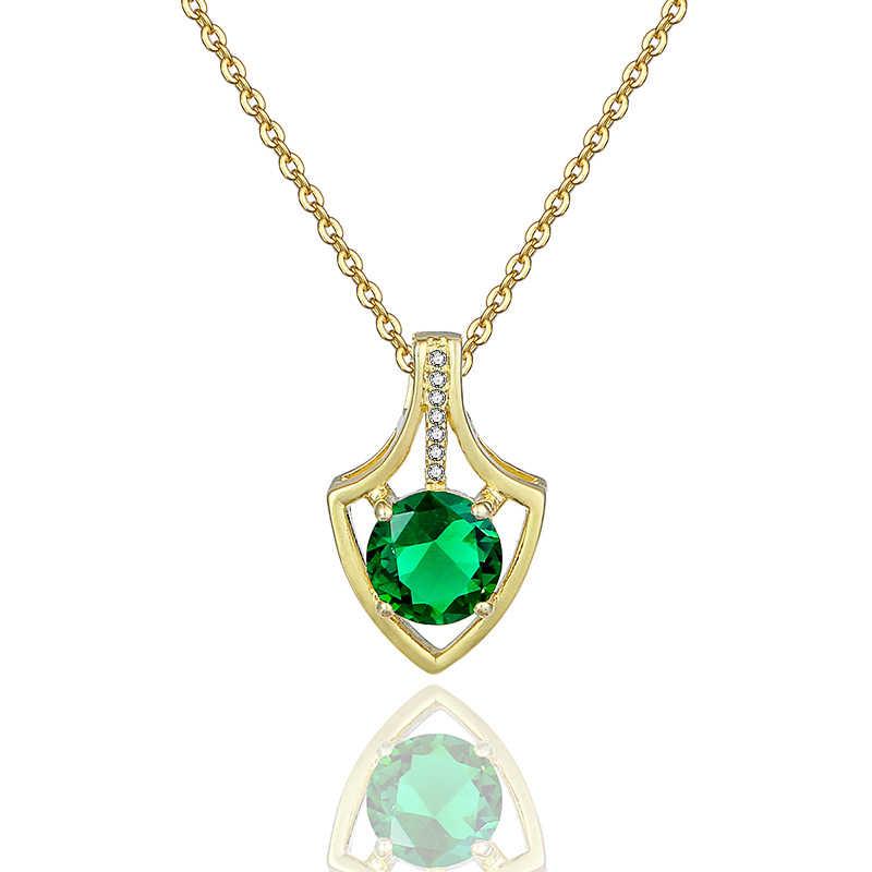 כסף לבבות של מותג ברור גיאומטרי צורת CZ תליון לתכשיטי מסיבת נשים ירוק צבעים זירקון בנות מתנה