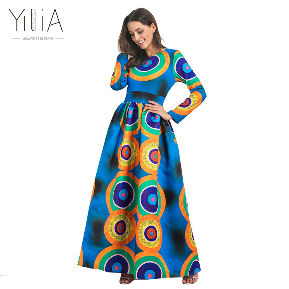 Yilia 2017 Autumn Winter African Print Maxi Long Dresses