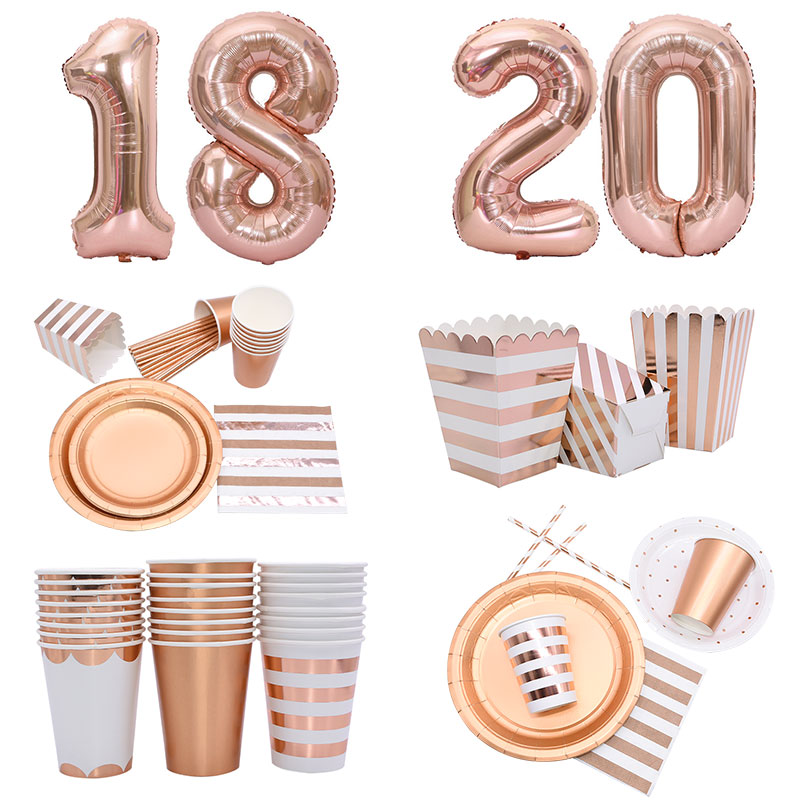 1Set Rose Gold Disposable Party Tableware Plate Cups Drinking Straws Popcorn Box For Wedding 1st Happy Birthday Party Supplies