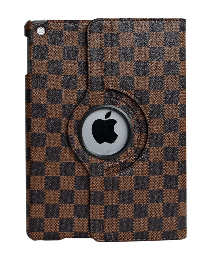 For Ipad 2 / 3 / 4 Case, Grid Plaid 360 Rotating Multi-Angle Viewing PU Leather Smart Stand Case With Auto Sleep Wake Function