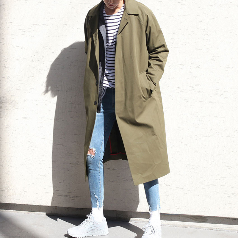 Male Fashion Solid Casual loose Jacket Khaki/black Outerwear Overcoat Men Korea Style Long   Trench   Cardigan Coat