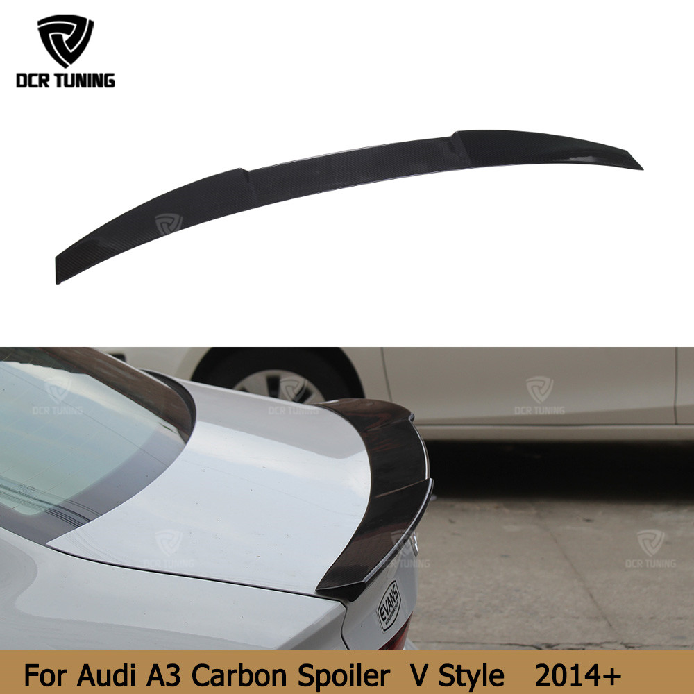 For Audi A3 Spoiler 2014 2015 2016 - UP for A3 8V Carbon Spoiler Rear Trunk Boot Spoiler for a3 8v carbon fiber car styling for audi a3 high quality abs material car rear wing primer color audi a3 hatchback rear spoiler for audi a3 spoiler 2014 2017