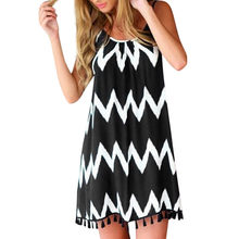 Summer Women Sexy wave pattern tassel strap Sleeveless Holiday Dress Short Sleeve Casual Party Clothing Dress #Zer(China)