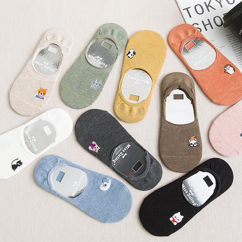 Dreamlikelin Cartoon Animal Slippers Summer Thin Socks For Women Short Cotton Sneakers Socks Silicone Anti-slip Low Cut Sock