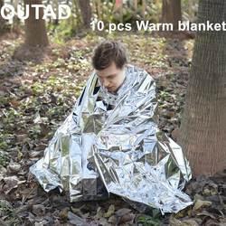 OUTAD 10 упаковок для выживания на открытом воздухе тепловое одеяло водонепроницаемое ветрозащитное многоразовая экстренная помощь Одеяло s