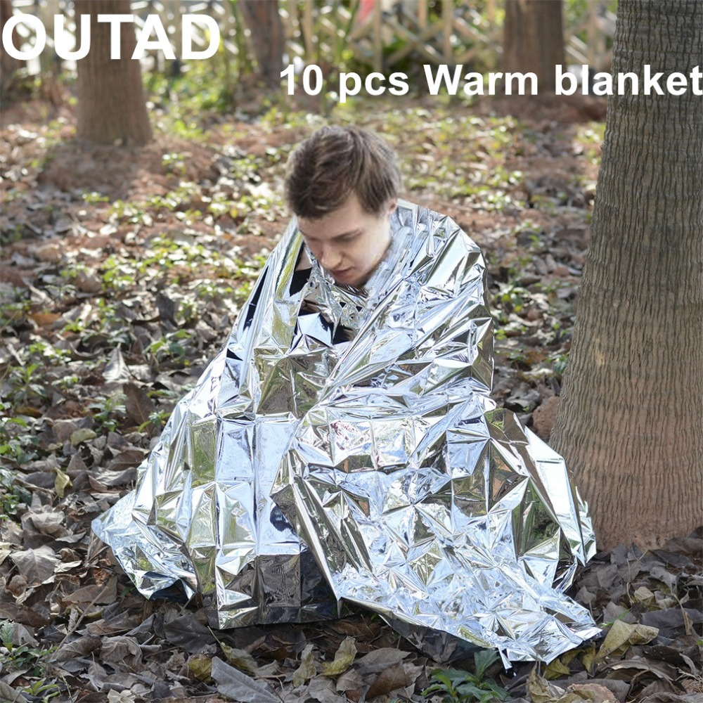 OUTAD 10Pack Outdoor Survival Thermal Blanket Waterproof Windproof Reusable Emergency Blankets First Aid Sun Shade Ground Cover