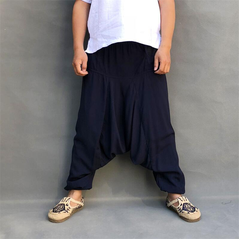 Harem Pants Trousers-Bottom Elastic-Waist Loose Cotton Linen Male Plus-Size Summer Casual