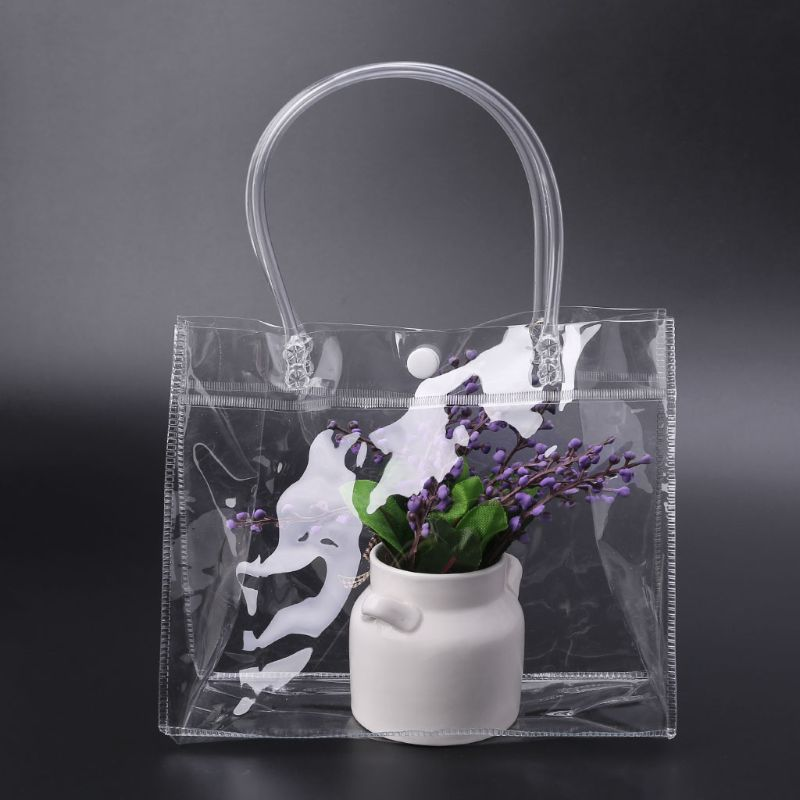 THINKTHENDO Clear Tote Bag PVC Transparant Handbag With Handle Wedding Party Favors Makeup Packaging Bags With Button