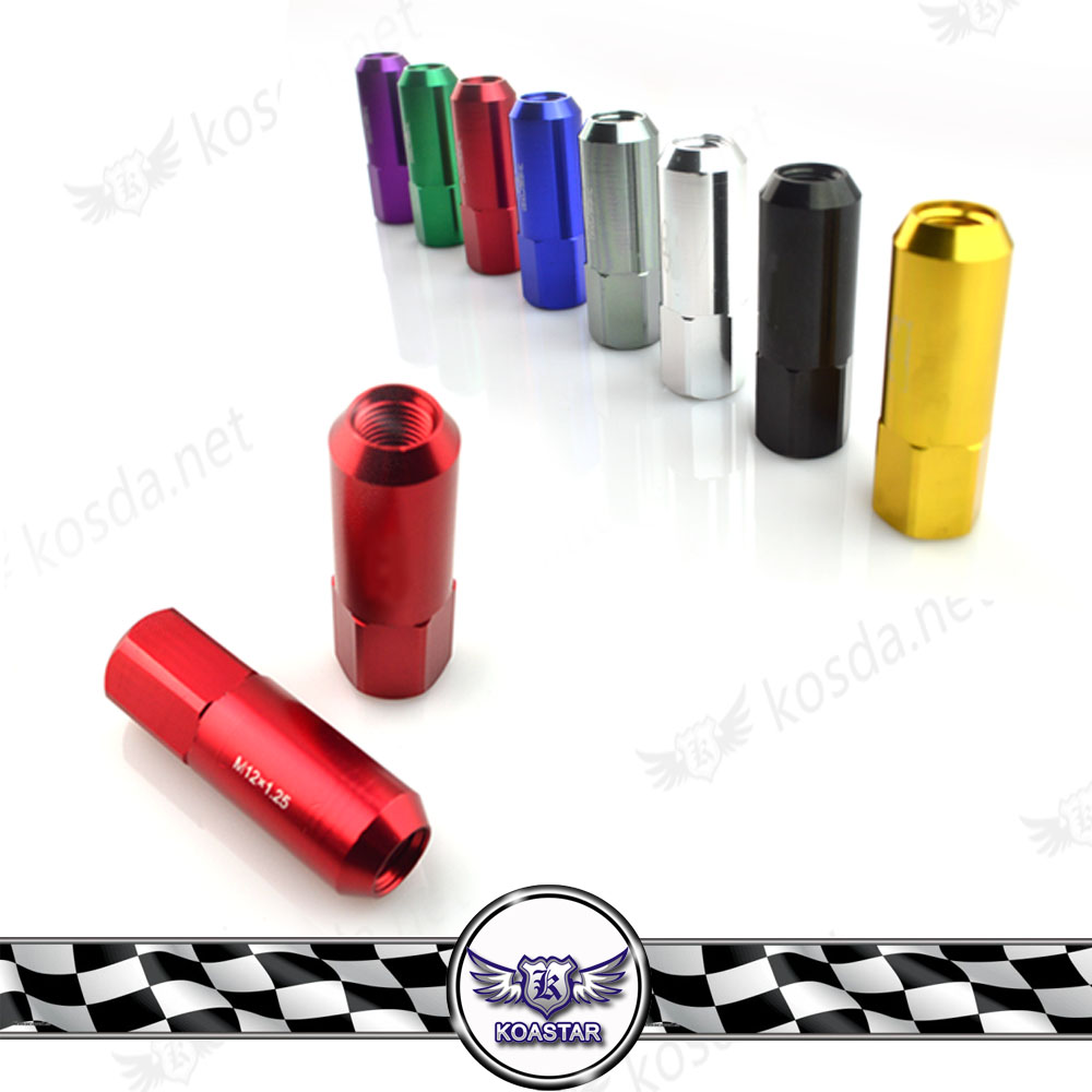 Extended Aluminum Wheel Nuts and Bolts 60mm Car Wheel nut Wheel Nuts m12x1.25 Color Name: with Logo-red, Specifications: M12x1.25 Tire & Wheel Tools Tire Repair Tools