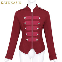 Kate Kasin Women Military Jacket Coat Outerwear Buttons Decor Stand Collar Victorian Gothic Vintage Corset Sweatshirt Coats Tops