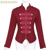 Kate Kasin Women Military Jacket Coat Outerwear Buttons Decor Stand Collar Victorian Gothic Vintage Corset Sweatshirt